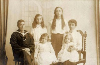 The Shead Family.  l-r Arthur Shead,  Elsie,  Gertrude,  Gertrude with Mildred, and Gladys in the centre   Photo. loaned by Elsie Pleasance.