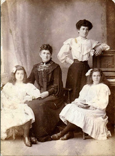 This charming photo. shows the Family of Arthur Shead who sailed on some of the famous steam yachts.  L-R Grace,  Ellen,  Gertrude and Gladys, they were all born in Wivenhoe.   Photo loaned by Elsie Pleasance