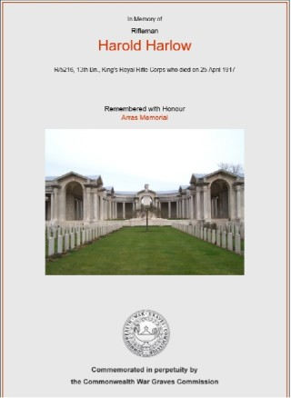 Certificate for Harold Harlow who was killed in action at Arras on 25th April 1917 | Commonwealth War Graves Commission