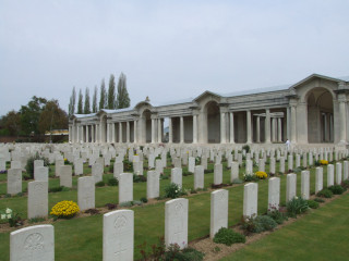 The War Cemetery at Arras which is maintained by the Commonwealth War Graves  Commission and where Harold Harlow's name is listed on Bay 7  | Photograph by the Comonwealth War Graves Commission