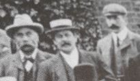 L to R Harry Rice, Fred Brown(landlord Brewery Tavern, John Rice. 1902