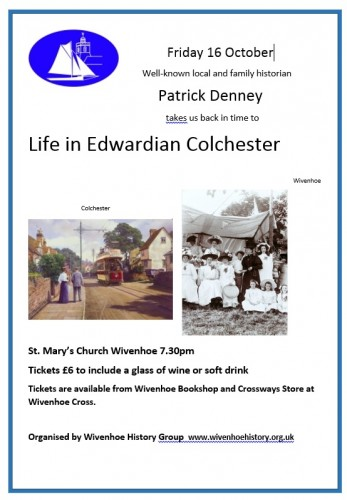 Public Lecture - Friday 16th October 2015 - Patrick Denney takes us back to Edwardian Times