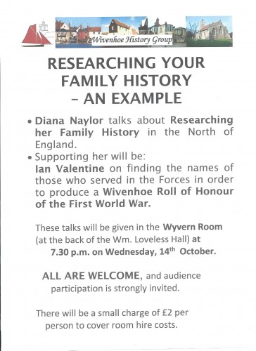 About the Wivenhoe History Group Meeting on Wednesday 14th October 2015 at 7.30pm