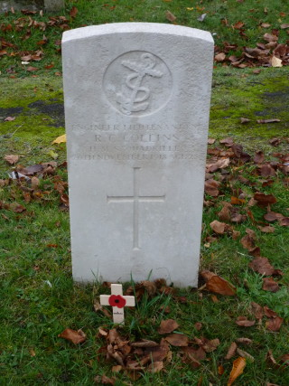 The CWGC headstone for Engineer Lieutenant RN Reginald Collins who is buried in the Wivenhoe New Cemetery   Photograph by Peter Hill