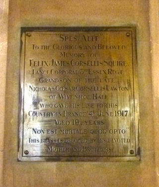Plaque in St Mary's Church in memory of Felix Corsellis Squire | Photo by Peter Hill