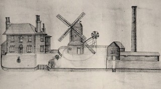 An artist's impression of the second Wivenhoe windmill prior to the fire  | Reproduced by courtesy of Essex Record Office