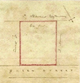 Plan of the piece of ground abutting on Queens Road later to be divided into five plots. It can be seen that Thomas Harvey owns the land to the east and west and Philip Havens Esq. owns the land to the south of the plot. The plot itself is 64 feet wide. | Photo from the original deed
