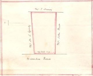 Plan of the piece of ground abutting on the High Street (referred to as Wivenhoe Street) . It can be seen that Mr H J Goody  owns the land to the north, Thomas Harvey owns the land to the east,  and Mr John Pratt owns the land to the south of the plot. The plot is shown as being 49ft 6ins wide | Photo from the original deed