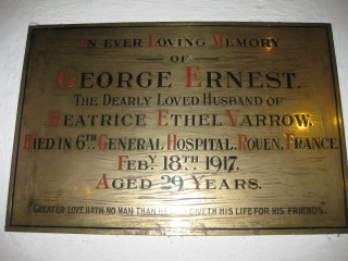 Plaque inside St Mary's Church Wivenhoe to the memory of George Varrow who died of his wounds fighting in WW1. | Peter Hill