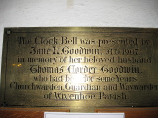 This plaque in the back of St Mary's Church marks the gift of a Clock Bell by Jane Goodwin in memory of her husband who was a Churchwarden and who died in 1906.     Peter Hill