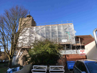 Renovations to the South Aisle roof of St Mary's Church in 2015 / 16   Photo: Peter Hill