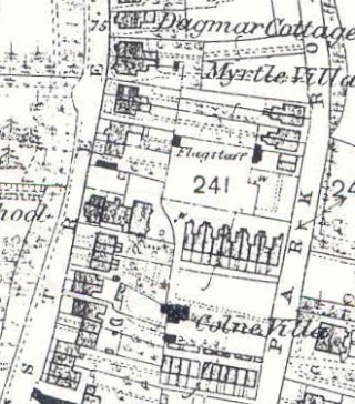 Shows Colne Terrace due south of Plot 241.  The National School can be seen on the parcel of land to the west. | 1876   Ordnance Survey 'First Edition': Wivenhoe, Elmstead, & Ardleigh Parishes (1:2500, twenty-five inches to one Mile)