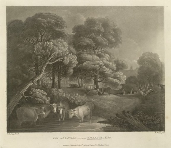 View in Summer near Wivenhoe (1796) By William Redmore Bigg (1755-1828) | © The British Library Board, K Top Vol. 13.59