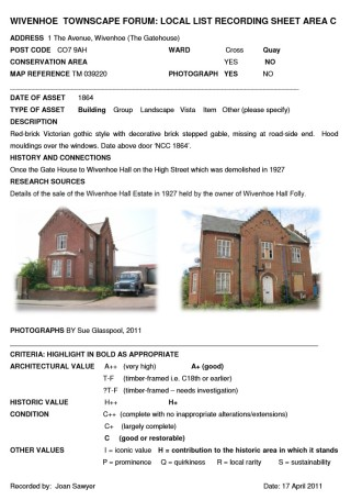 The entry for the Gatehouse recorded in the Local List by the Wivenhoe Townscape Forum in 2011