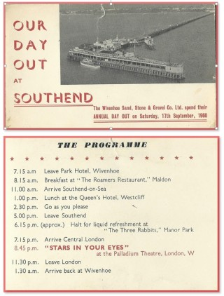 History of Gravel Extraction in Wivenhoe | Picture of the programme for a company outing owned by Graham Wadley