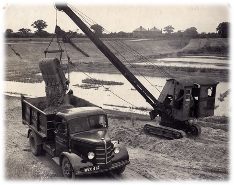 An O-model Bedford truck which carried 5 cubic yds of sand.