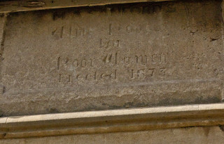 Commemorative Stone on the front of the almshouse - 1873 | Frances Belsham