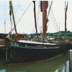 The Thames Sailing Barge 'Hydrogen' moored in the 'wet dock' in Wivenhoe and used in the filming.  | Photo: Peter Hill