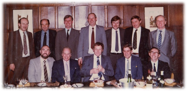 Back row: Michael Course, Alex Stanmore, Peter McVey, Gordon Pryor, Mike Newton, Michael Puxley, John Philibrown Front row: Walter (John) Wood, Basil Button, Tony Hemmings, Derek Sillit, John Ball