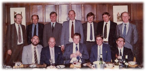 Back row: Michael Course, Alex Stanmore, Peter McVey, Gordon Pryor, Mike Newton, Michael Puxley, John Philibrown Front row: Walter (John) Wood, Basil Button, Tony Hemmings, Derek Sillit, John Ball