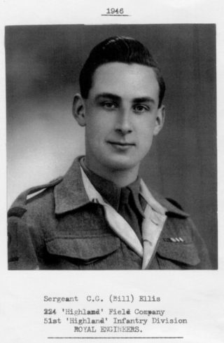 Sgt Cyril 'Bill' Ellis (1925 - 2012). Served in 224 'Highland' Field Company, 51st 'Highland' Infantry Division, Royal Engineers.