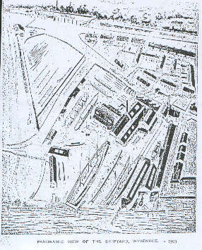 A drawing of the upstream shipyard circa 1903