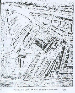 A drawing of the upstream shipyard circa 1903