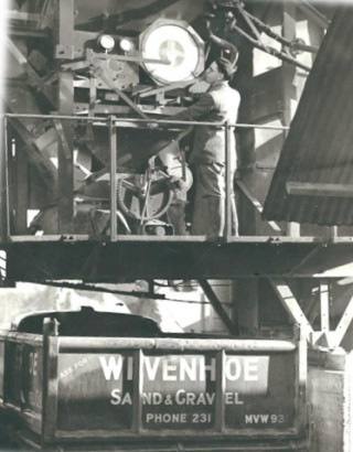 Vernon Pryke operating one of two asphalt plants in the 1960s. | Photograph loaned by Mr & Mrs Graham Wadley