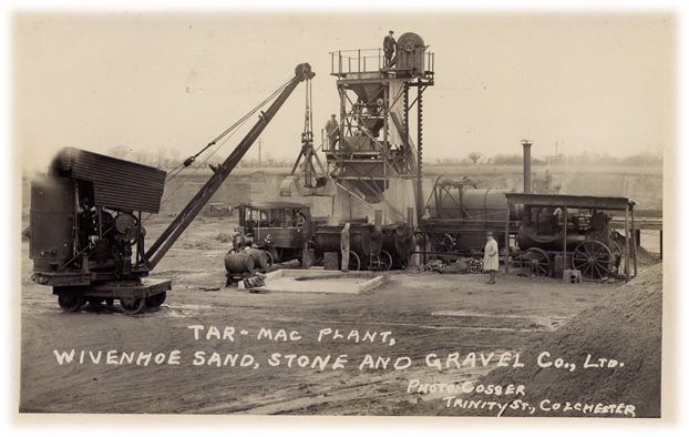 The Wivenhoe Sand, Stone and Gravel Co. Ltd moved into the production of tarmac in the 1930s