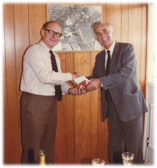 Walter Wix retired in 1984 – seen here receiving a retirement gift from the then MD Michael Ayton | Photo Alex Stanmore