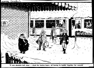 BCA 48042, 'It was absolute hell, dear - stuck for twelve hours, all having to huddle together for warmth', Mac [Stanley McMurty], Daily Mail, 14 January 1987 | British Cartoon Archive
