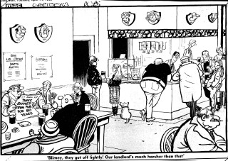 BCA 46467 'Blimey, they got off lightly! Our landlord's much  harsher than that', Mac [Stanley McMurty], Daily Mail, 14 April 1987 | British Cartoon Archive