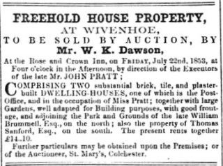 Sale Notice for Wivenhoe Post Office 22 July 1853 | Essex Standard  15 July 1853