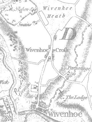 Extract from the 1777 Chapman and Andre map of Wivenhoe showing the Cross | Courtesy of Essex Record Office