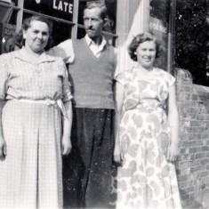 Hilda, Alf and Moira Adams outside their shop in 17 Queens Road, 1952 | Wivenhoe Memories Collection