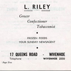 Advert for Riley's Shop, 17 Queens Road | Wivenhoe Memories Collection