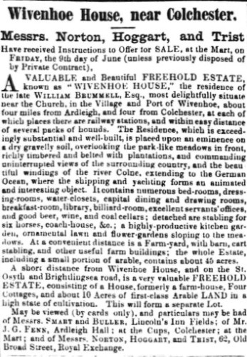 Advertising the Sale of Wivenhoe House on 9 June 1854 | Essex Standard 19 May 1854