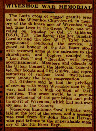The account of the War Memorial Unveiling Ceremony published in the Chelmsford Chronicle on 24th June 1921  | With thanks to Mary Norris for finding this news clipping.
