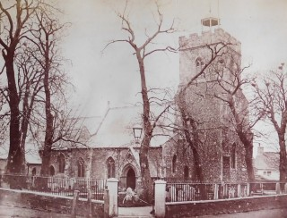 An early photograph of St Mary's Church, Wivenhoe, probably taken about 1875  | Reproduced by kind permission of Essex Society for Archaeology and History
