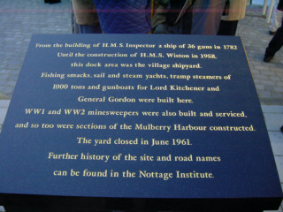 The Plaque erected by Wivenhoe Town Council in 2002, paid for by Persimmon Homes who erected the homes surrounding the Dry Dock.    Peter Hill