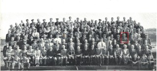 Bert Green (circled), Sue Thompson's father, photographed with other Rowhedge Ironworks workers in 1954. Quite a few men came from Wivenhoe; trades were shared between the Wivenhoe and Rowhedge yards.