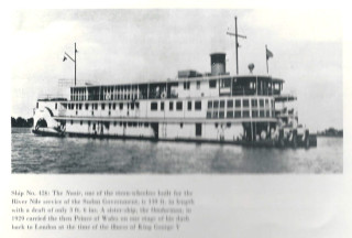 The Nasir was one of the stern-wheelers built for use on the River Nile around 1928. She had a draft of only 3 foot 6 inches.