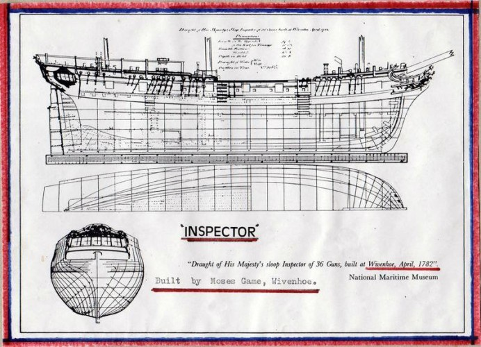 Drawing of the sloop 'Inspector' of 36 guns built at Wivenhoe in April 1782 by Moses Game