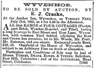 The advertisement which appeared in the Essex Standard for the auction of 4 cottages on 21st July 1885