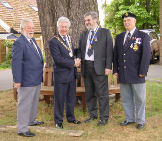 Left to right: Richard Gladwin, Town Mayor Cllr Peter Hill, Pastor Patrick Baxter, Chairman Wivenhoe Branch Royal British Legion and Maurice Clary launching the War Memorial Renovation Fund in May 2005.   | Wivenhoe Encyclopedia