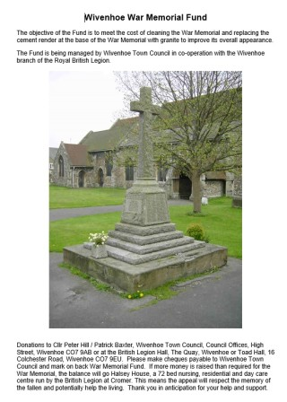 The poster explaining the War Memorial Fund