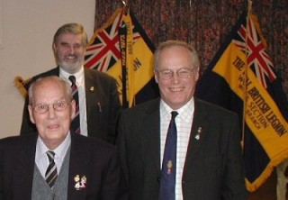 Left to right:  Mr Ralph Moss ( Branch Vice President); Pastor Patrick Baxter (Branch Chairman) and Major David Swann TD ( RBL County Vice President)  | Wivenhoe Encyclopedia