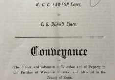 Wivenhoe Manor: Conveyance 16 March 1899