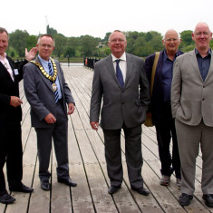 From left: Wivenhoe Town Cllr Bob Needham, Town Mayor Brian Sinclair, ??, former Town Mayor Dave Purdey and Borough Cllr Cyril Liddy.   Jason Cobb