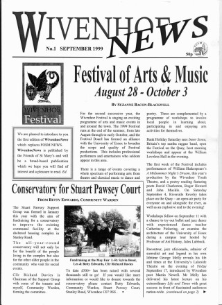 The front cover of the first edition of Wivenhoe News which took over from the very successful FOSM News.